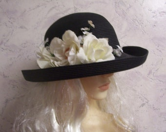 Capelli Straworld Beautiful Authentic Vintage Paper Weave Floral Hat * Pristine