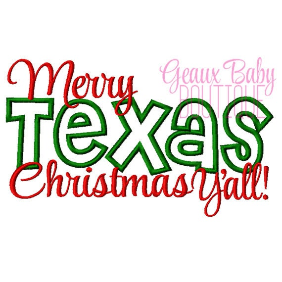 Merry Texas Christmas Machine Embroidery Applique Design