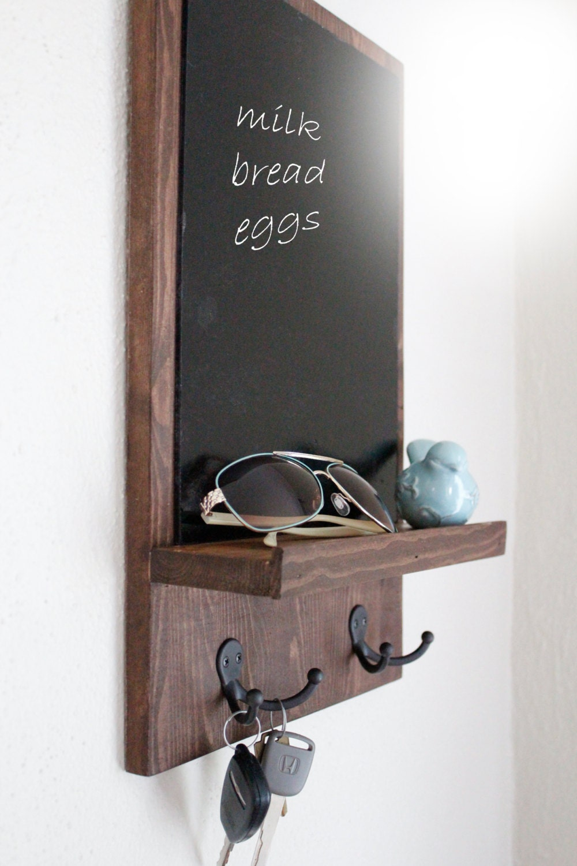 Chalkboard organizer rustic wood organizer mail organizer - Key hook and mail holder ...