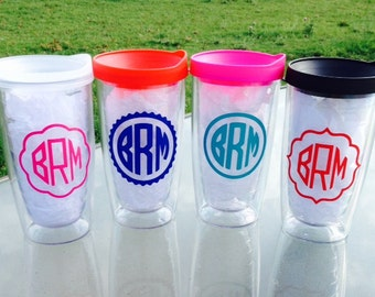 Set of 3 Personalized Insulated Acrylic Tumbler with Lid