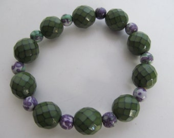 FREE SHIPPING U.S. only , Green/purple stretch bracelet, purple bracelet, green bracelet, chunky bracelet,