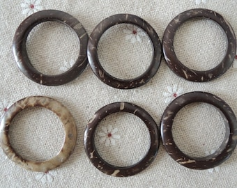 15 Pcs 35mm Coconut  Ring Charm Coconut Shell Donut Brown (W571)