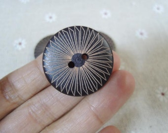 10 Pcs 30mm Black Wood button 2 holes with geometrical pattern  (W780)