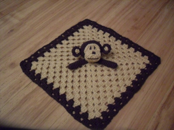 Items similar to Crochet PATTERN Monkey Security Blanket ...