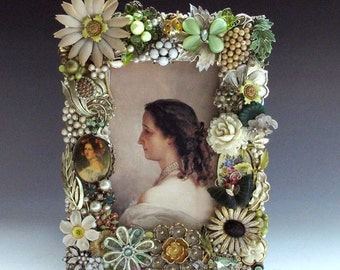 Green Cream Floral Picture Frame Handcrafted of Vintage Jewelry