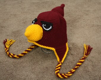 Crocheted Cardinal Hat Infant Size