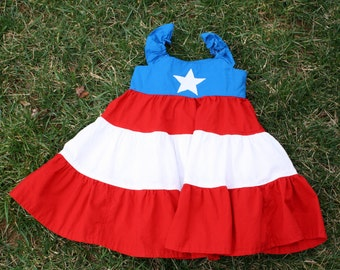 Patriotic Tiered Dress perfect for 4th of July. Sizes 6-12Month to 7/8