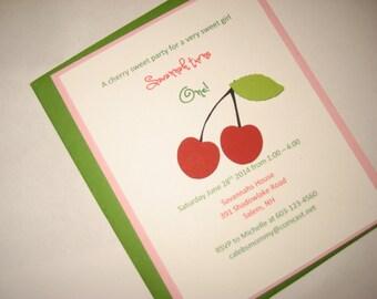 Little Girls Cherry Birthday Invitation
