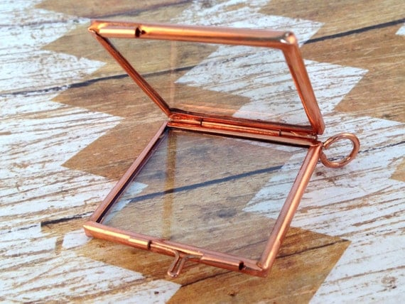 copper double sided hinged square glass frame pendant hinged floating locket charm vintage style antique bronze