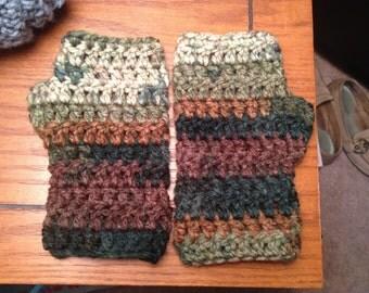 Handmade Crochet Camouflage Fingerless Gloves