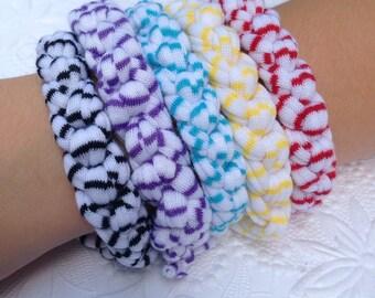 One White with Stripes T-Shirt Yarn Bracelet  Style #3