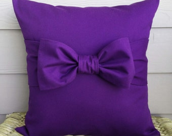 """Purple Bow Pillow Cover. Bow Pillow Cover. Decorative Pillow Cover. 18"""" x 18""""."""