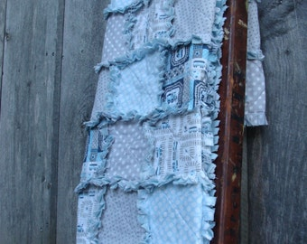 "Crib size rag quilt - ""Railroad Crossing"""