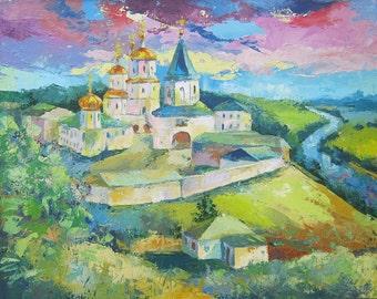 Art Original Oil Painting Molchansky Monastery