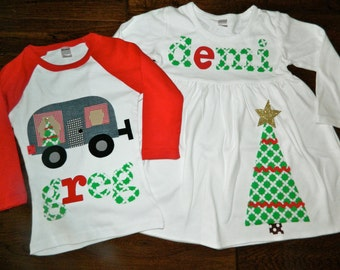 Brother Sister Sibling Set- Christmas Tree Applique Outfits- Perfect for Family Pictures