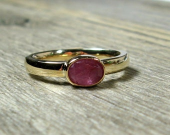 14K Gold Sapphire Ring, Wide Band, Natural Pink Sapphire Gemstone, Ready to Ship, size 6.5, Yellow Gold, Gift for Her