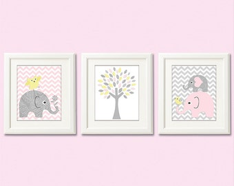 Light Pink light yellow and grey elephant Nursery Art Print Set - 8x10- Baby girl Room Decor, chevron, bird, owl, tree, gray