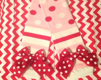 Valentines leg warmers, Valentines day leg warmers with bows, baby leg warmers, girls leg warmers, toddler leg warmers