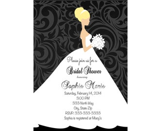 Bridal Shower invitation,   Wedding shower Invitation, Wedding Shower Black and White Wedding Dress   Printable