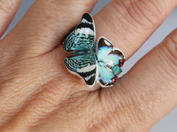 teal butterfly ring handmade , two butterlies on a turquoise ring