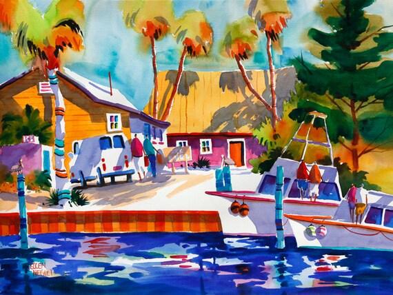 Key west print key west painting beach art beach print for Key city fish