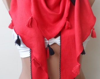Scarf, Red Pashmina Shawls, Summer scarf, Elegance scarf, LACE scarf, Women, Bridesmaid shawls, PASHMINA scarf, Triangle, Red scarf, fringe