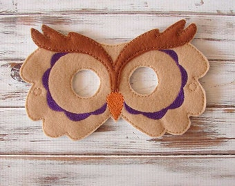 Felt Owl Mask - Animal - Kids Mask - Costume - Dress Up - Halloween - Party Favors