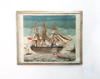 Antique Needlework Clipper Ship Framed