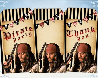 Pirate party Gift tags Pirates of Caribbean  tags Thank you tags Digital tags Jack Sparrow tags