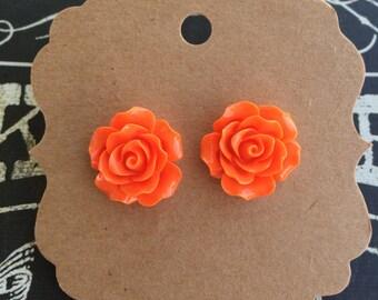 Orange Resin Flower (20mm) Earring Set