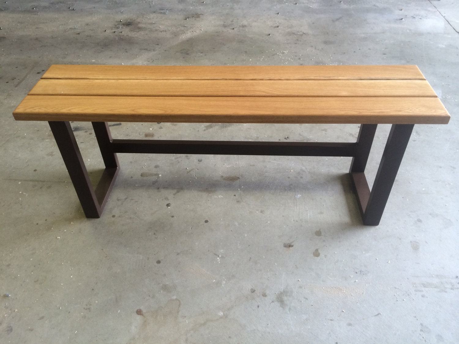 Small Outdoor Bench Hardwood With Painted Metal Base By Irongrain