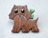 Carved Wooden Pup Vintage Pin