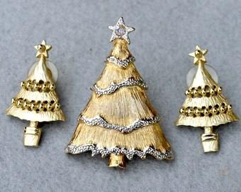 Christmas Tree Brooch and Earrings Married Vintage Set