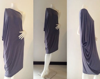 Gray one shoulder Short evening dress casual elegance all size