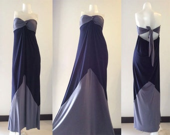Color block Gray Navy blue  long Maxi dress all size