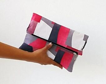 Geometric vegan suede clutch bag, pink foldover bag, faux suede clutch purse, colorful foldover clutch bag, white gray pink bordo charcoal