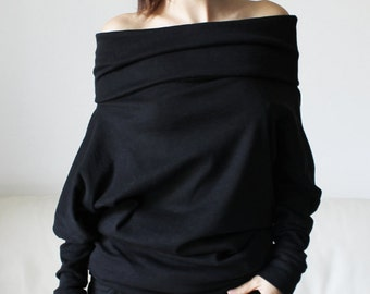 Black sweater blouse, sweatshirt tunic, cotton cowl neck sweatshirt