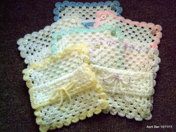 Crochet Fancy Bags : Crochet baby gift bag square shape fancy edge design various colours