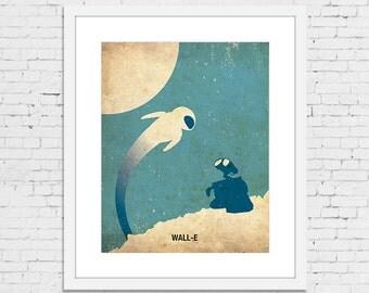 "WALL-E Retro Minimalist Poster Print 11 1/2"" x 15 1/4"" - IKEA RIBBA Frame Size"