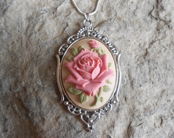 "Stunning Rose Cameo Pendant Necklace (pink on tan)---.925 plated 22"" Chain--- Great Quality"