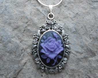 """Stunning Purple Rose Cameo Pendant Necklace (on black)---.925 plated 22"""" Chain--- Great Quality"""