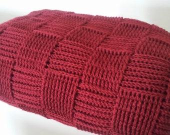 Crocheted blanket Basket weave crocheted throw afghan blanket home decor crochet