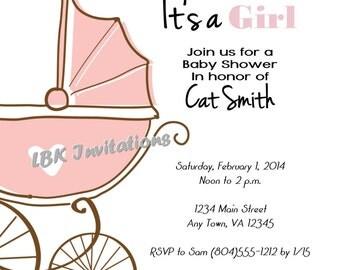 Vintage Stroller Baby Shower Invitation (Girl or boy)