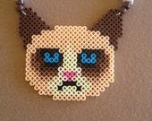 Grumpy Cat Meme Perler Kandi Rave Necklace