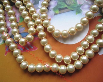 Popular Sale Wholesale 100pcs 8mm cream glass pearl beads
