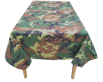 Decorative Cotton Tablecloth in Camouflage Print