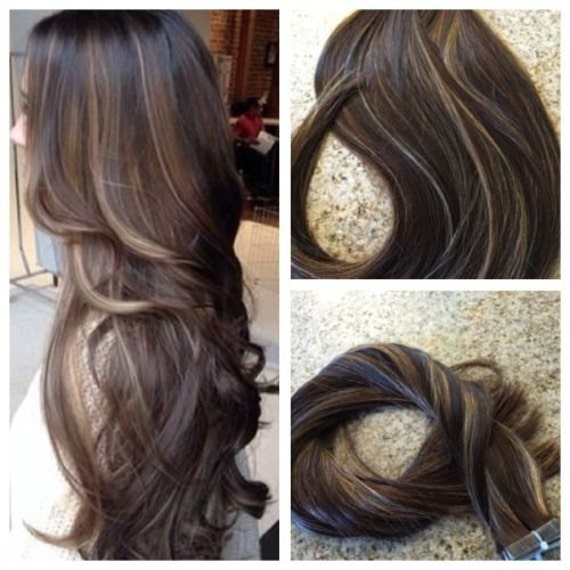 5 star balayage highlighted european remy tape in seamless description balayage highlighted european remy tape in seamless weft extensions pmusecretfo Images