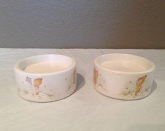 Vintage Betsey Clark Hallmark Ceramic Pillar Candle Holders Set of 2