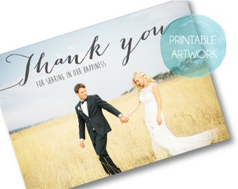 PRINTABLE Wedding Thank you postcard - Rustic - Custom Made to Order