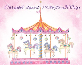 Carousel set clipart ,Cute Carousel Horse Ride Clip Art , merry go round clip art Set , PNG and JPEG file -300 dpi